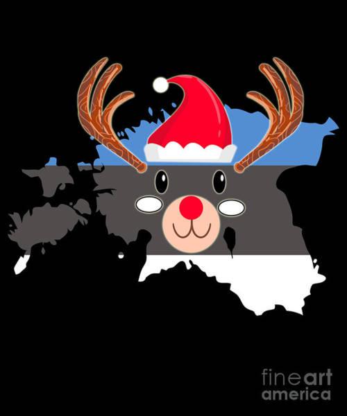 Ugly Digital Art - Estonia Christmas Hat Antler Red Nose Reindeer by TeeQueen2603