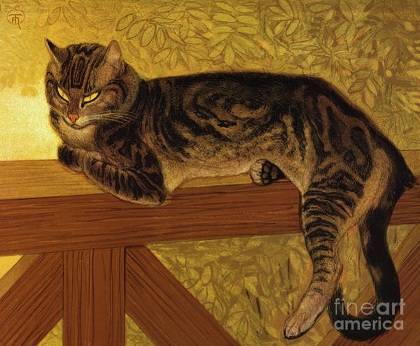 Wall Art - Painting - Ete, Chat Sur Une Balustrade, 1909 by Theophile Alexandre Steinlen