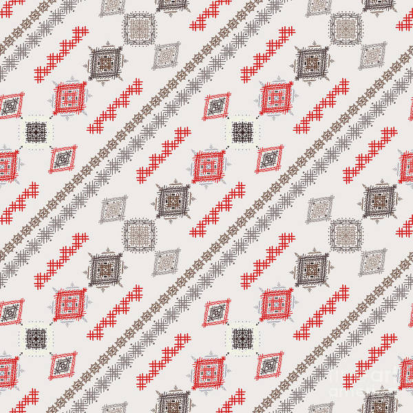 Border Wall Art - Digital Art - Ethno Seamless Pattern. Ethnic Boho by Nataleana