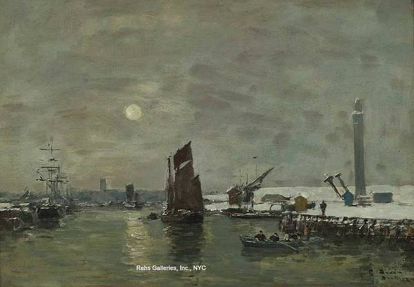 Baltic Sea Painting - Eugene Louis Boudin  1824 - 1898 Dunkirk, Effect Of Snow On The Port by Celestial Images