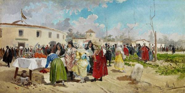 Wall Art - Painting - Eugenio Lucas Villaamil Entering The Bullring In Sunshine C. 1885 by Eugenio Lucas