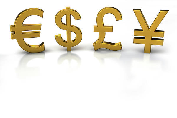 Symbol Digital Art - Euro, Dollar, Pound And Yen Currency by Bjorn Holland