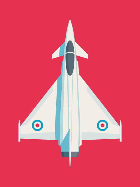Military Wall Art - Digital Art - Typhoon Jet Fighter Aircraft - Crimson by Ivan Krpan