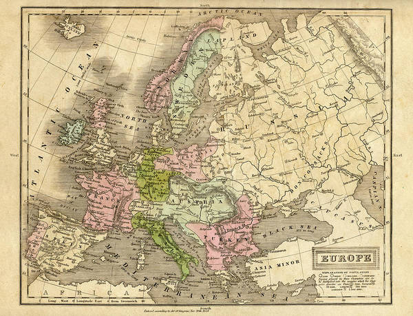 Burn Digital Art - Europe Map 1829 by Thepalmer
