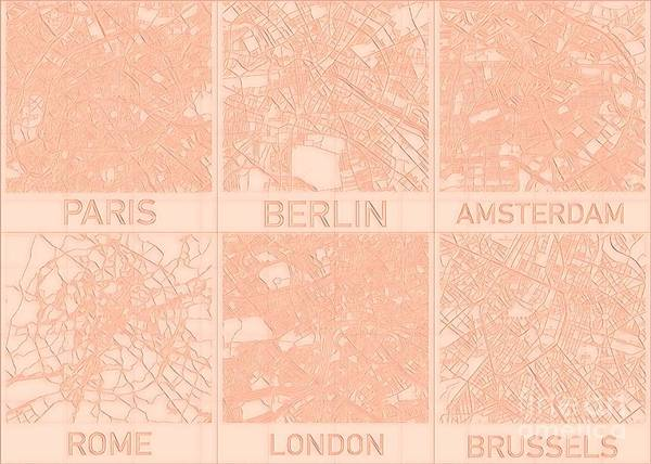 Digital Art - European Capital Cities Blueprint Maps by Helge