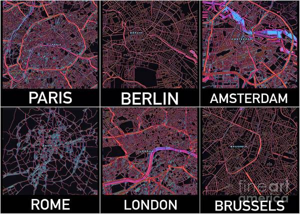 Digital Art - European Capital Cities Maps by Helge