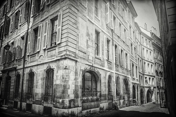 Wall Art - Photograph - European Street Scene Geneva Switzerland Black And White  by Carol Japp