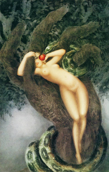 Wall Art - Painting - Eve And Snake - Digital Remastered Edition by Louis Icart