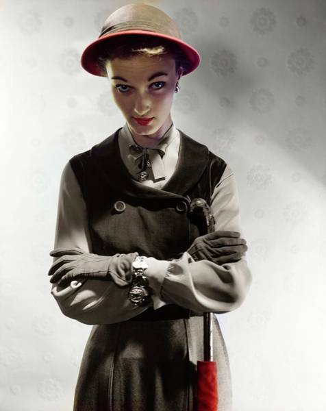 Shaded Photograph - Evelyn Tripp Wearing B.h. Wragge by Horst P. Horst