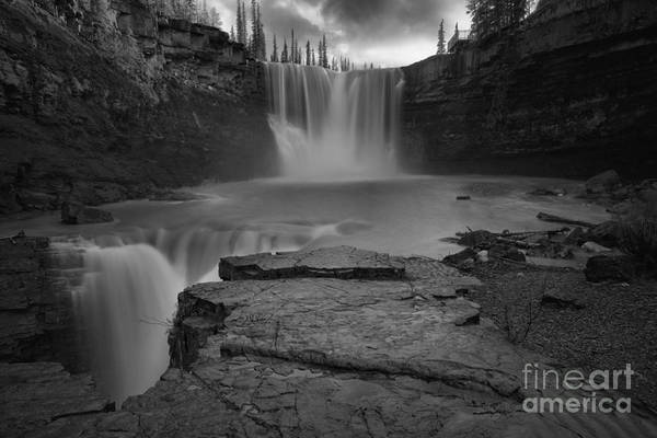 Photograph - Evening At Crescent Falls Black And White by Adam Jewell