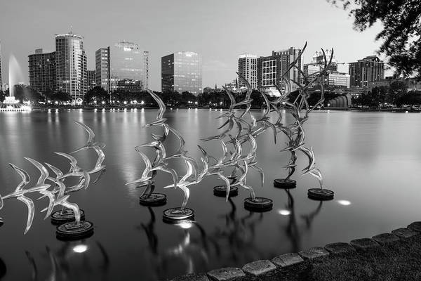 Photograph - Evening At Lake Eola - Orlando Florida Monochrome by Gregory Ballos