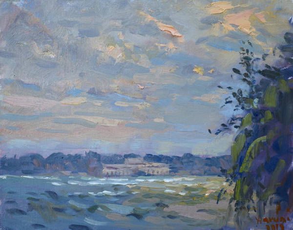 Wall Art - Painting - Evening At Niagara River by Ylli Haruni