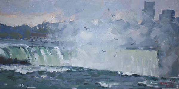 Wall Art - Painting - Evening At The Falls by Ylli Haruni