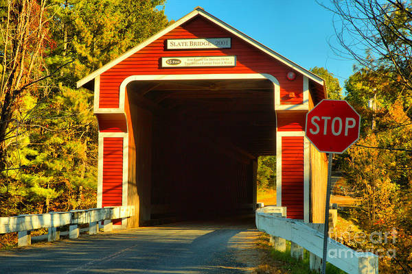 Photograph - Evening At The Slate Covered Bridge by Adam Jewell