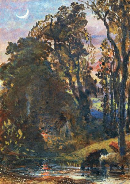 Wall Art - Painting - Evening, Cattle Watering - Digital Remastered Editiondigital Remastered Edition by Samuel Palmer