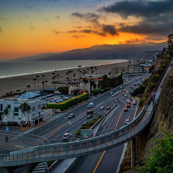 Photograph - Evening Commuters Crossing Over Pacific Coast Highway - Square by Gene Parks