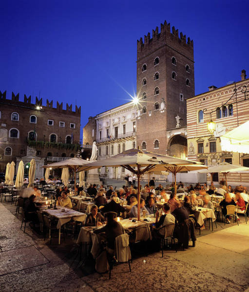 Old People Photograph - Evening Dining In The Old Town, Verona by Stuart Black / Robertharding