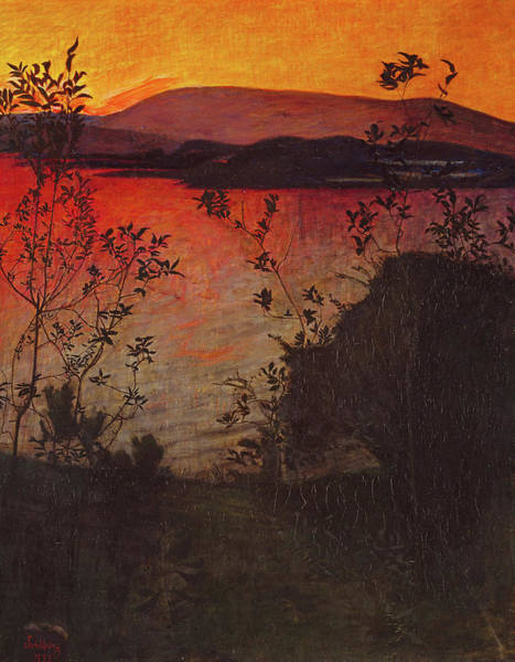 Wall Art - Painting - Evening Glow, 1893 by Harald Sohlberg