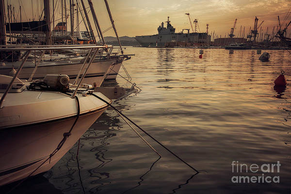 Photograph - evening harbor  in Toulon, France by Ariadna De Raadt