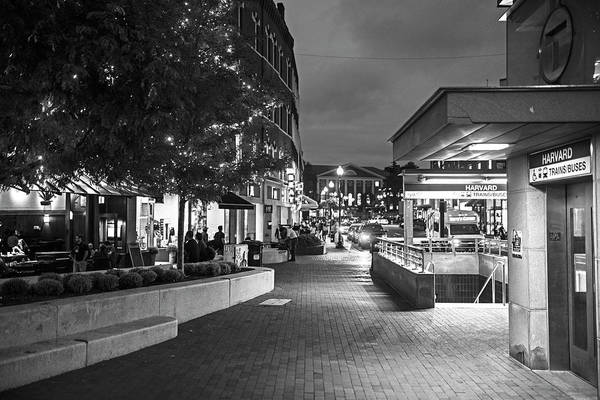 Photograph - Evening In Harvard Square Cambridge Ma Black And White by Toby McGuire