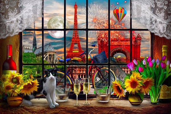 Wall Art - Digital Art - Evening In Paris by Debra and Dave Vanderlaan