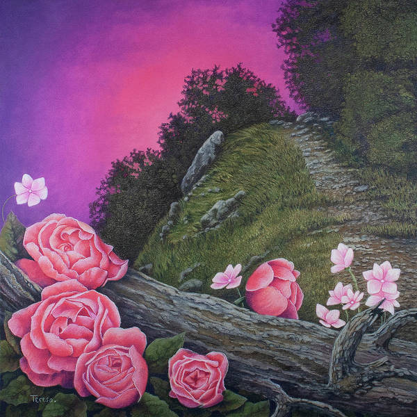 Grey Skies Drawing - Evening In Pink by Teresa Frazier