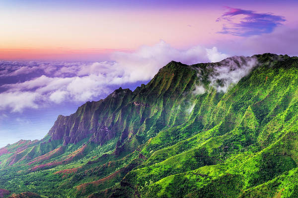 Waimea Canyon Photograph - Evening Light On The Kalalau Valley by Russ Bishop