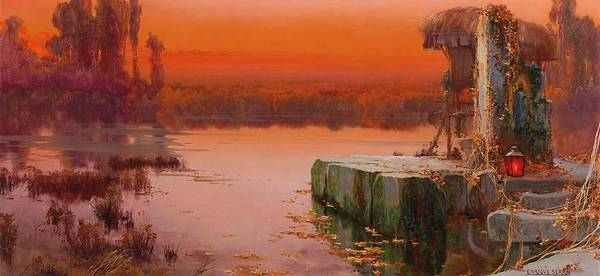Wall Art - Painting - Evening Light Over The Pontine Marshes by Enrique Serra