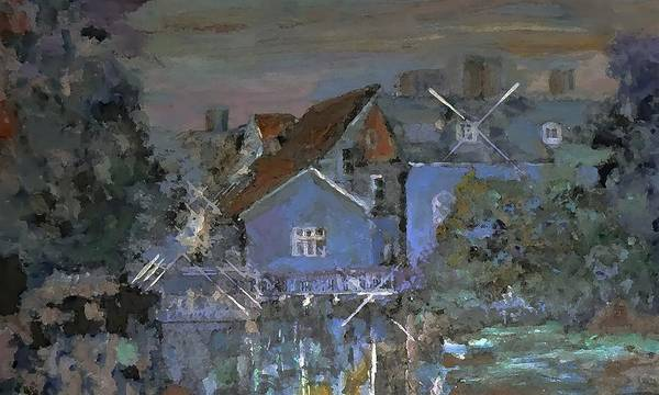 Mansion Mixed Media - Evening Lights On The Water By Lisa Kaiser by Lisa Kaiser