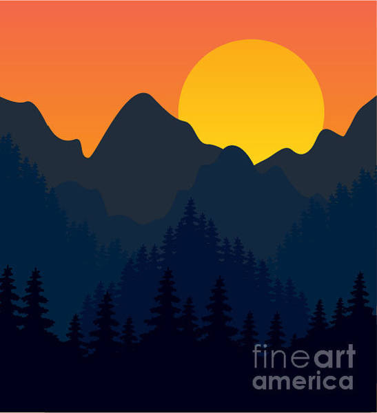 Wall Art - Digital Art - Evening Mountains Forest by Zolotnyk Mariana