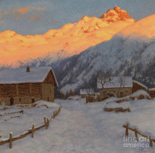 Wall Art - Painting - Evening On The Mountain by Ivan Fedorovich Choultse