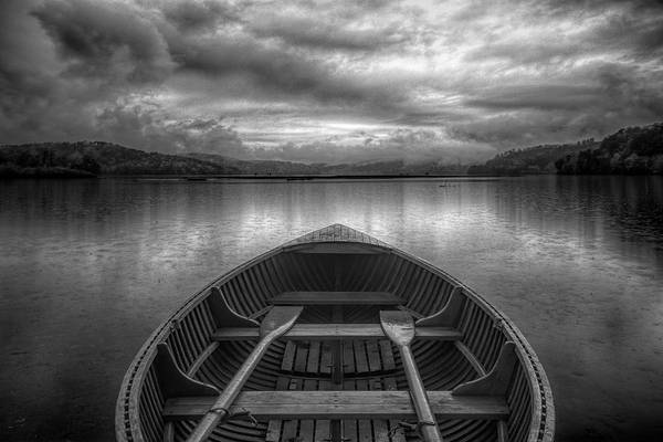 Wall Art - Photograph - Evening Rowboat In Black And White by Debra and Dave Vanderlaan