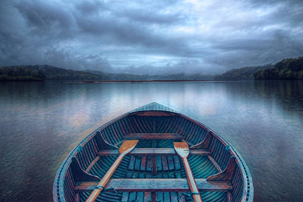 Photograph - Evening Rowboat Painting by Debra and Dave Vanderlaan