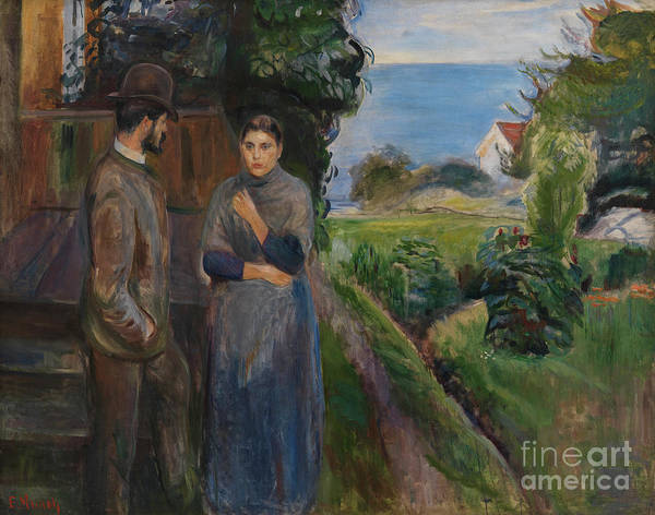 Wall Art - Painting - Evening Talk, 1889 by Edvard Munch