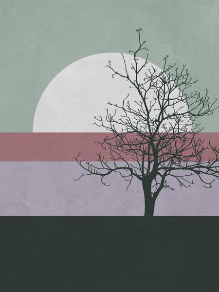 Earth Day Wall Art - Mixed Media - Evening Tree by Naxart Studio
