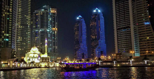 Photograph - Evening Waterfront Scene, Dubai Marina, Dubai, United Arab Emirates by Jamie Baldwin