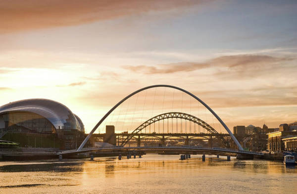 Gateshead Millennium Bridge Photograph - Eventide On The River Tyne by D W Horner