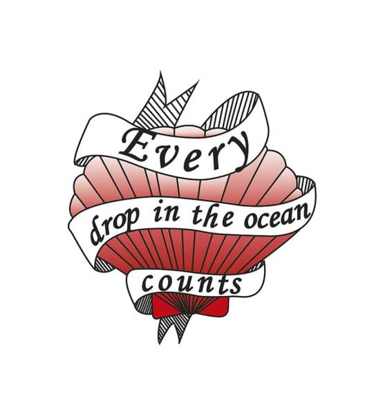 Cute Drawing - Every Drop In The Ocean Counts by Squid Power