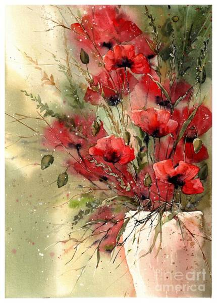 Florida Beach Painting - Everything About Poppies I by Suzann Sines