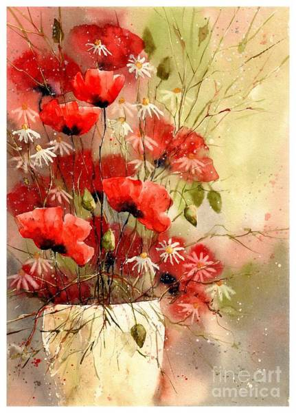 New Hampshire Wall Art - Painting - Everything About Poppies IIi by Suzann Sines