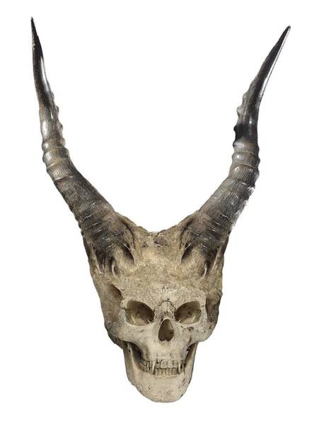 Possessed Digital Art -  Evil Devil Skull With Horns Isolated On White - Image  by Caids Ados