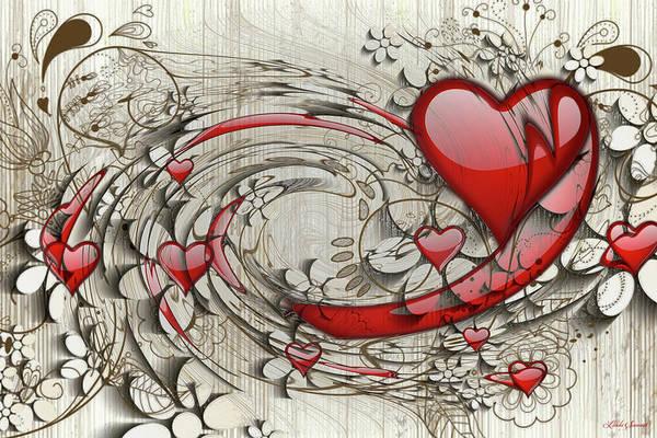 Wall Art - Digital Art - Revolving Hearts by Linda Sannuti