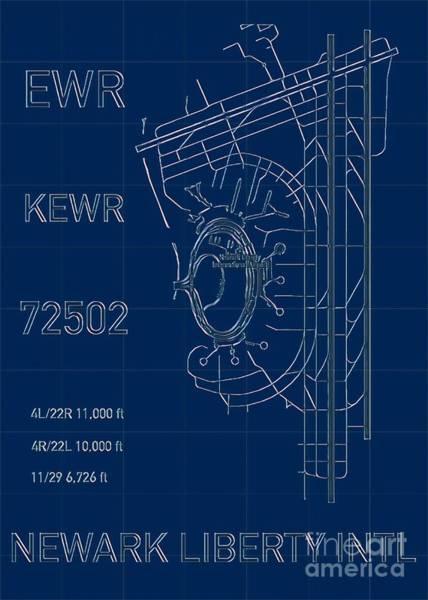 Digital Art - Ewr Newark Liberty Airport Blueprint Light by Helge
