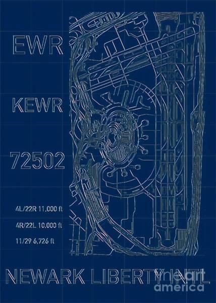 Digital Art - Ewr Newark Liberty Intl Blueprint by Helge