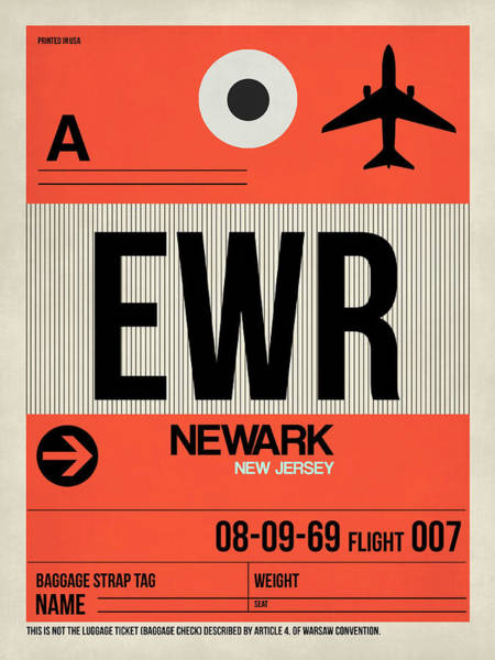 Wall Art - Digital Art - Ewr Newark Luggage Tag I by Naxart Studio