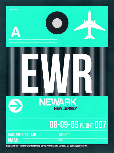 Wall Art - Digital Art - Ewr Newark Luggage Tag II by Naxart Studio