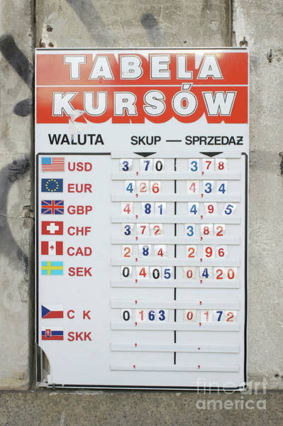 Wall Art - Photograph - Exchange Rates Board by Tom Gowanlock