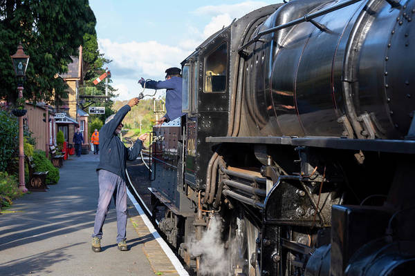 Photograph - Exchanging Keys by Steam Train