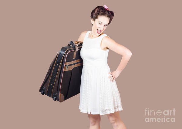 Wall Art - Photograph - Excited Retro Backpacking Girl Holding Baggage by Jorgo Photography - Wall Art Gallery