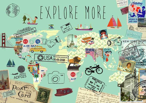 Exlore More World Map Art Print